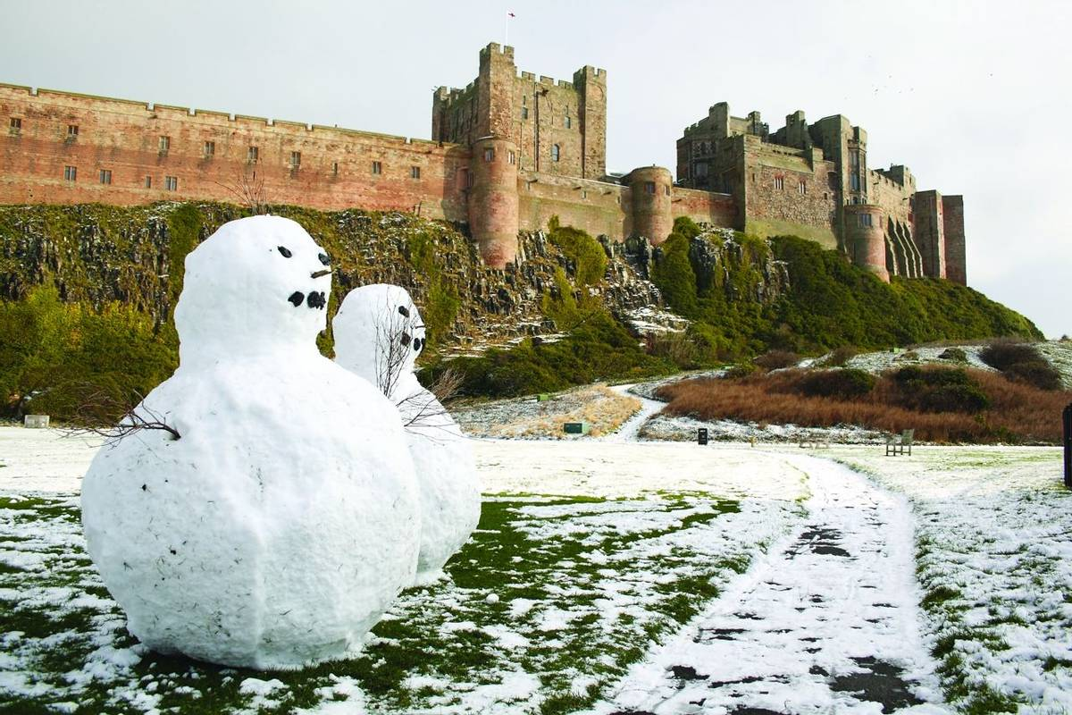 Snowmen at Bamburgh Castle