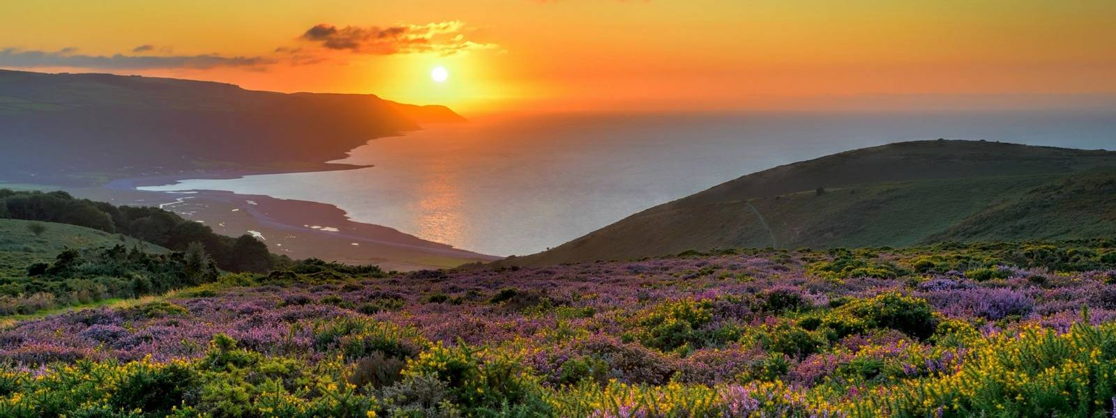 Sunset over Porlock Bay, Exmoor, England