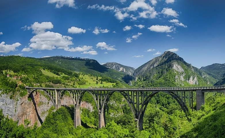 Panorama of the Durdevica Tara Bridge on Tara River