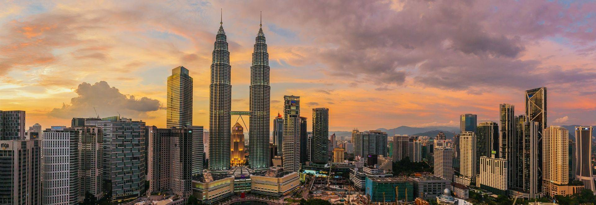 View of panorama of the center of Kuala Lumpur city with colorful clouds from the sunset in 2015.