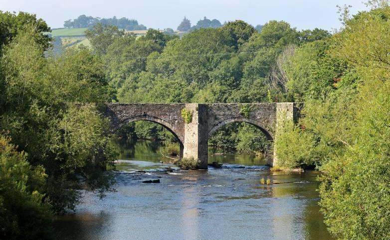 Stone road Bridge over the river Usk near Brecon, Wales