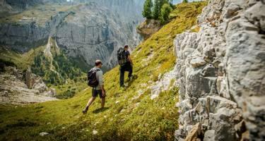 Hikers on the DolomitesTrail