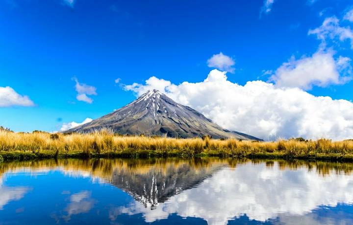 Reflection of Mount Taranaki, NZ, in a small pond