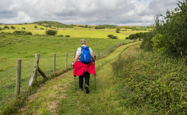 05/08/2019 Robin Hoods Bay, North Yorkshire, Uk Walking along the long distance footpath of the Cleveland Way between Clough…