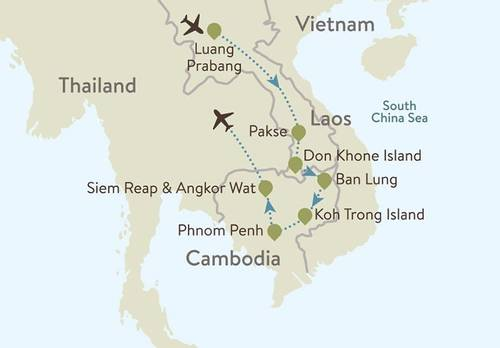 Laos and Cambodia Itinerary Map