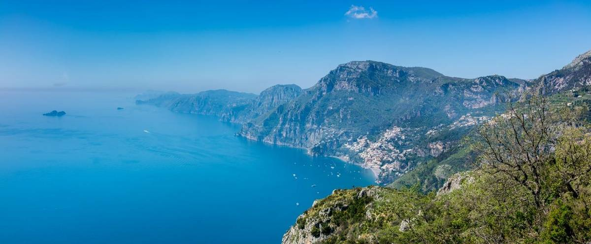 Aerial view of Positano town and Amalfi coast  from hiking trail