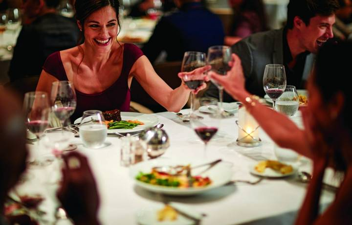 Celebrity Cruises Reflection 2018, Main Dining Room, MDR, dining, culinary, friends, couples, toast, cheers, wine, food, din…