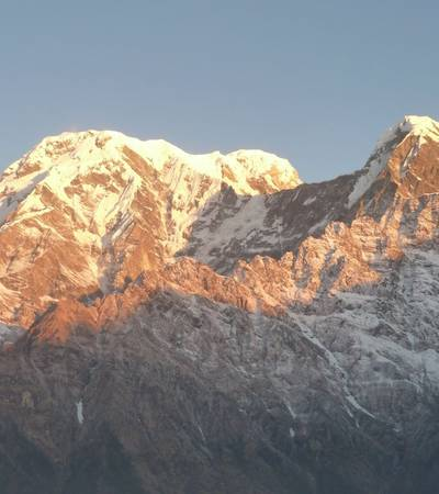 Morning light on Annapurna South and Mount Hiunchuli