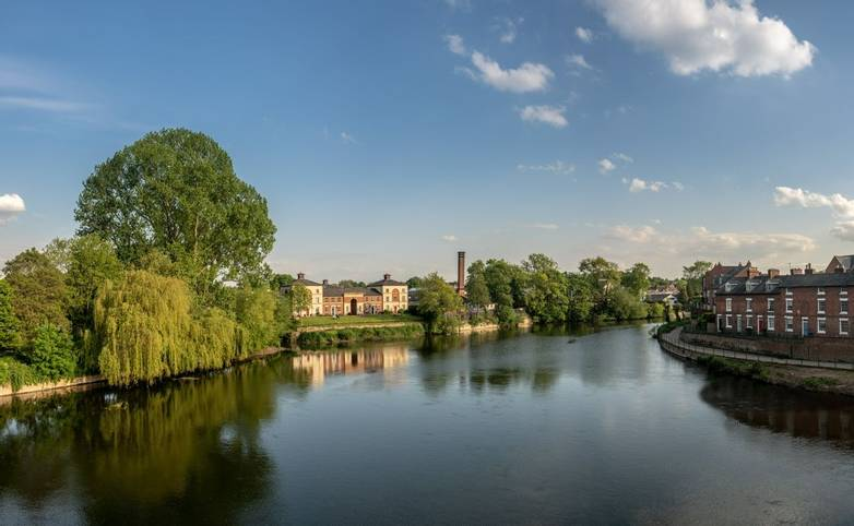 View over the River Severn from English Bridge in Shrewsbury