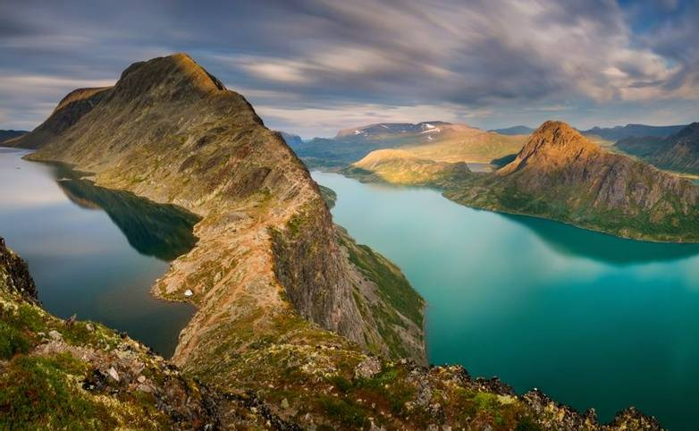 Panorama of Besseggen mountain ridge between Gjende Lake and Bessvatnet, Jotunheimen