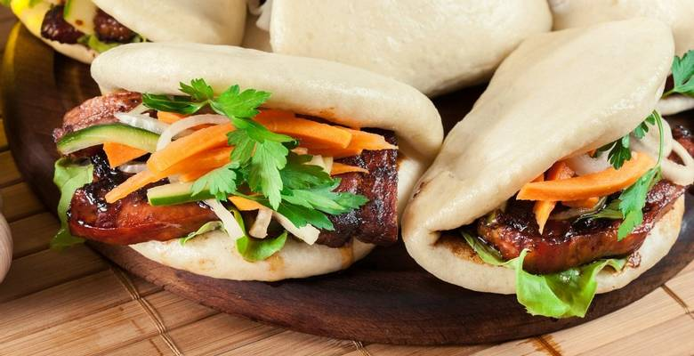 Chinese crispy beef with steamed buns