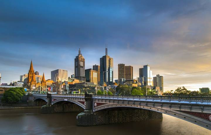 melbourne with princess bridge and flinders street station