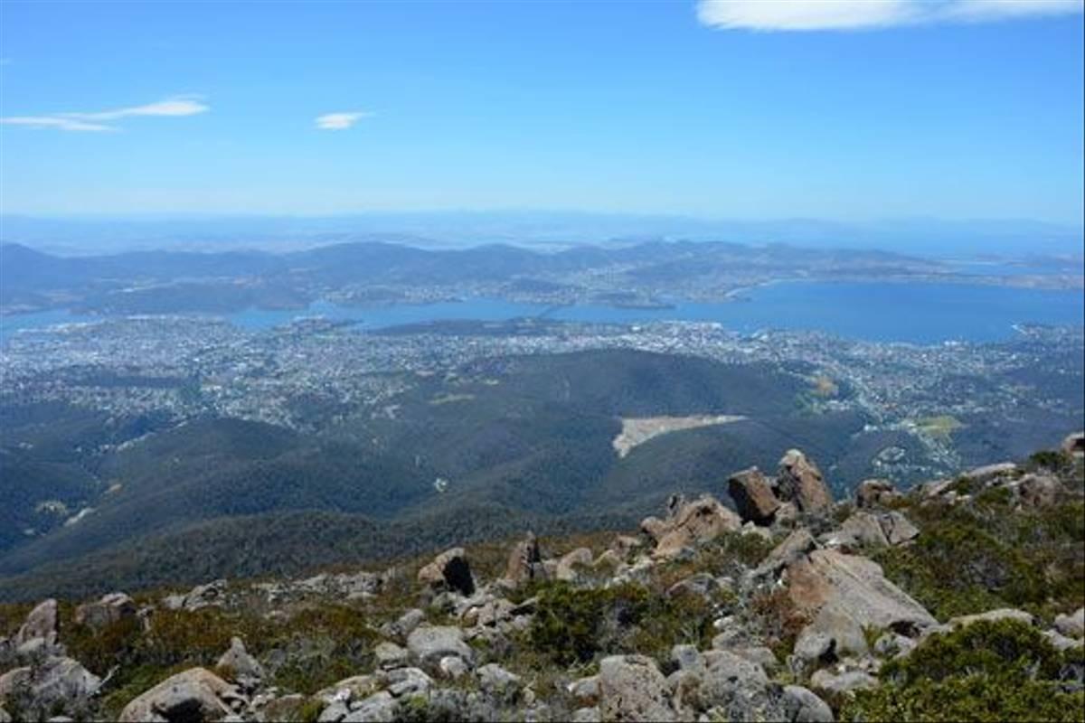 Hobart as seen from Mount Wellington