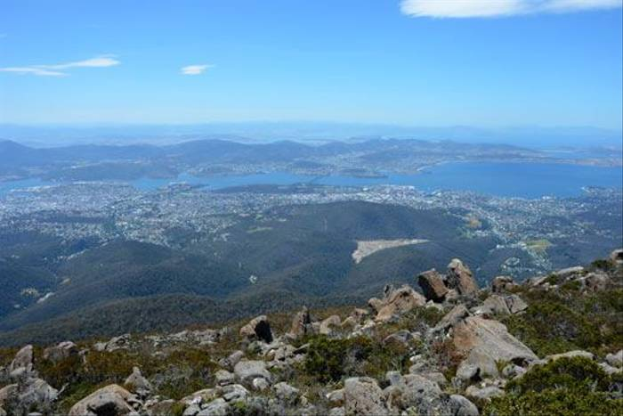 Hobart as seen from Mount Wellington