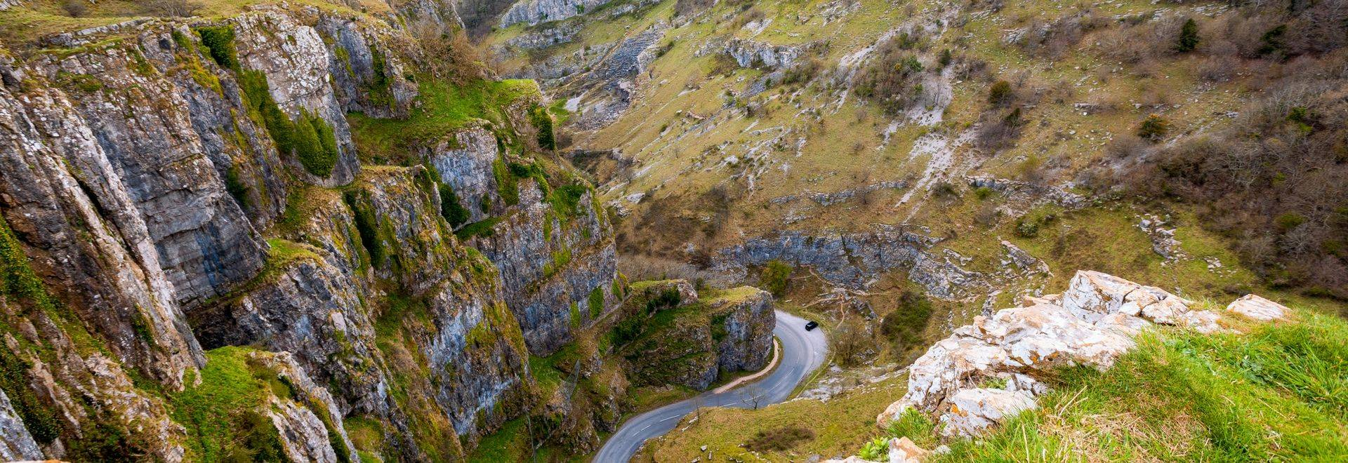 Cheddar Gorge viewed from above in Cheddar, Somerset, England