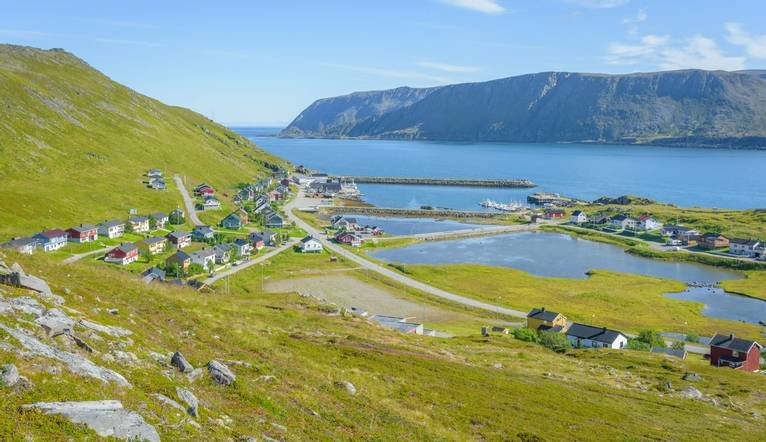 Picturesque fishing village Skarsvag on Mageroya in Finnmark, Norway