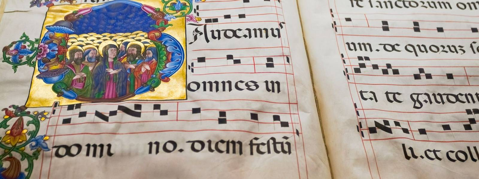 medieval folio with choral note