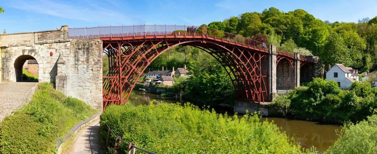 IronbridgeShropshireEnglandMay 14, 2019The famous iron bridge, built across the river Severn and opened in 1781