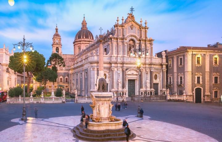 Piazza Duomo in Catania with the Cathedral of Santa Agatha and Liotru, symbol of Catania in the evening, Sicily,