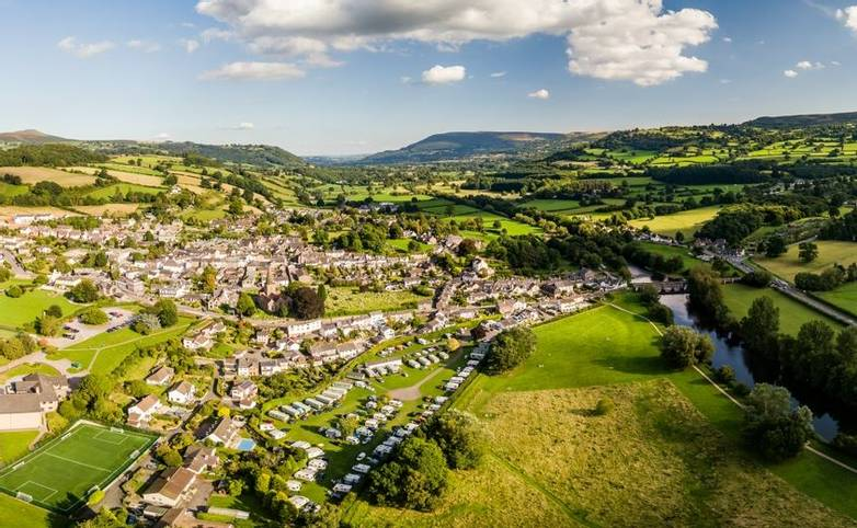 The rural town of Crickhowell in South Wales viewed from the air