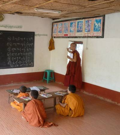 Monks studying at Wat In monastery