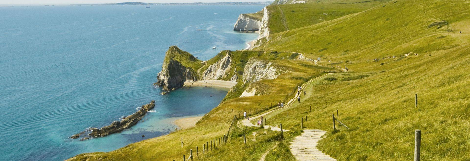 Coastline of Jurassic Coast in Dorset.