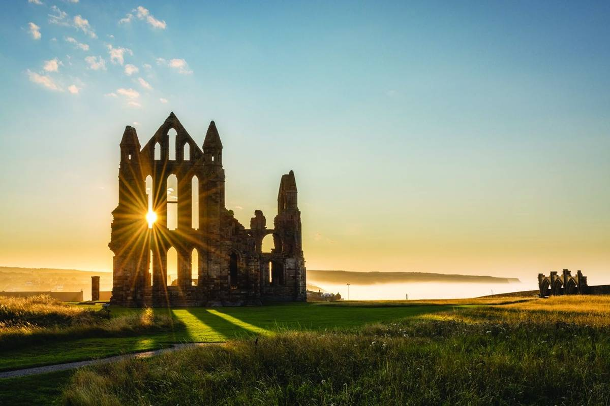 Sun Star on Whitby Abbey