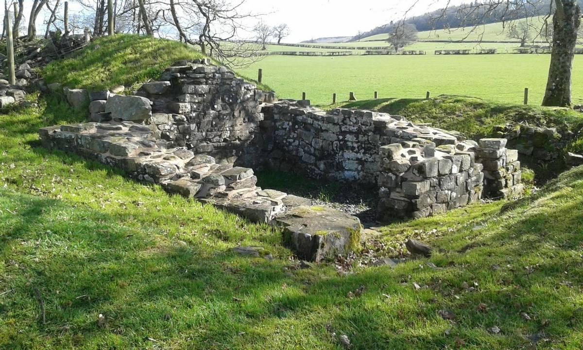 Y Gaer Roman Fort E Gate 2nd April 2019.jpg