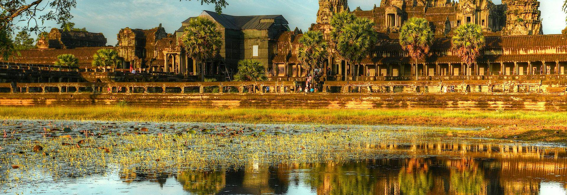 The exterior view of Angkor Wat.