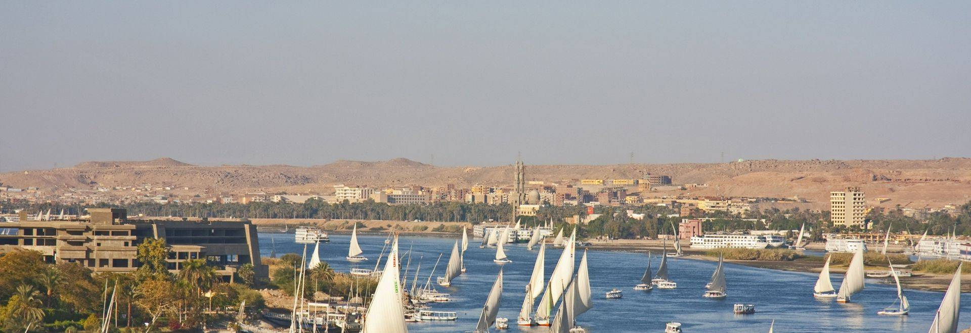 The Nile River and felucca sailing boats.