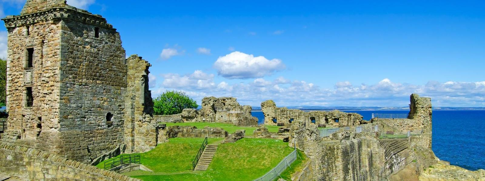 St Andrews Castle ruins medieval landmark. Fife, Scotland.