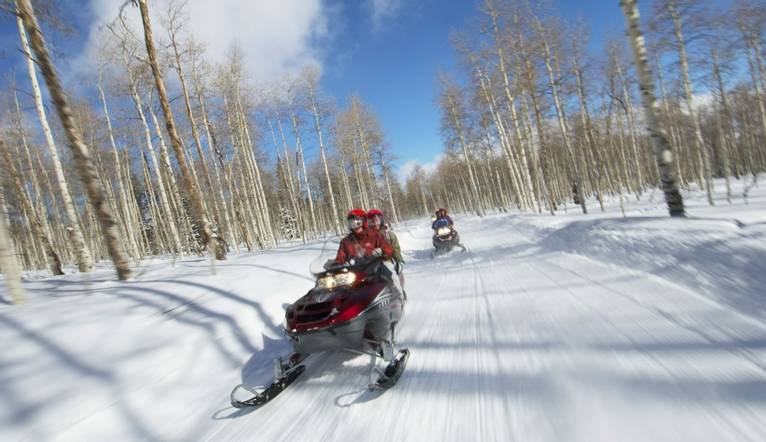 Couples Racing on Snowmobiles