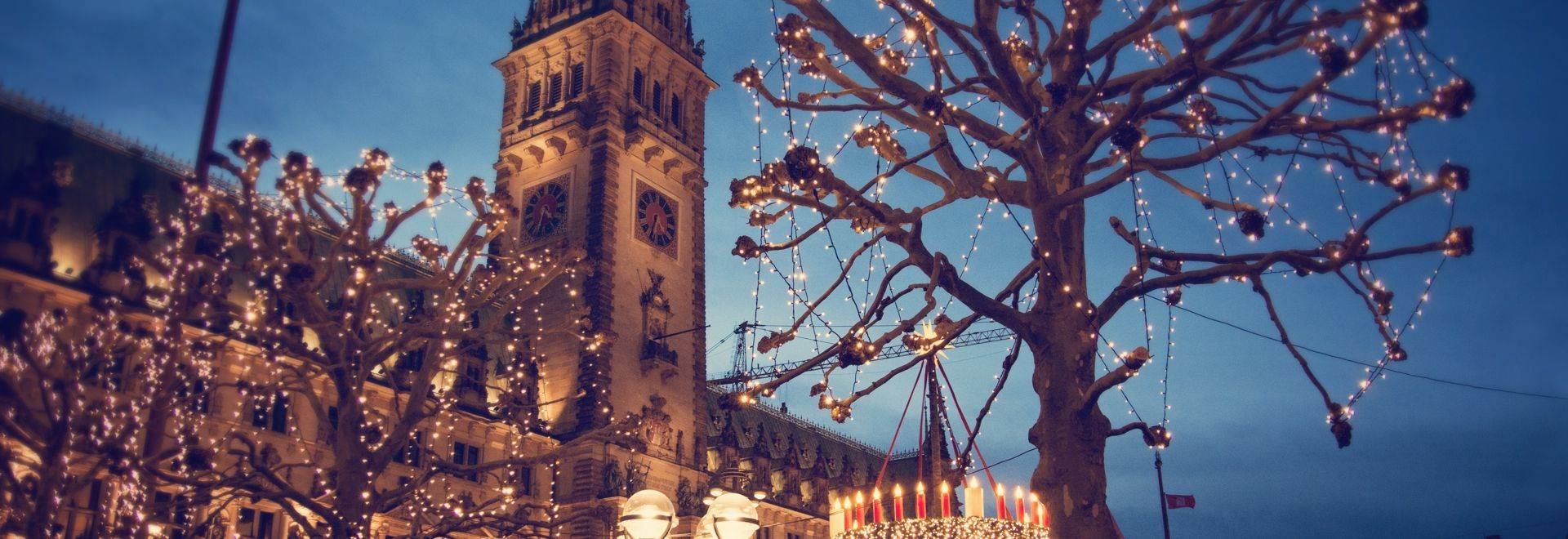 Christmas market at the Hamburg Rathaus Markt - Hamburg, Germany, 2015