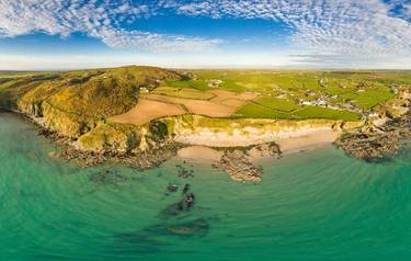 Aerial view of Church Bay in Anglesey North Wales UK during sunset.