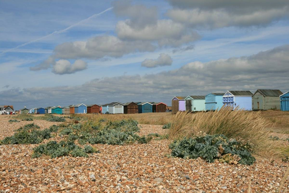 Beach huts Hayling Island Hayling Billy Line.JPG