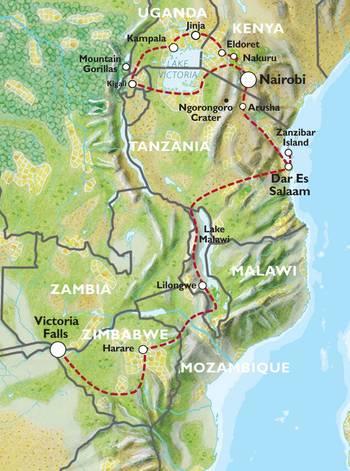 NAIROBI to VICTORIA FALLS (53 days) Apes & Lakes