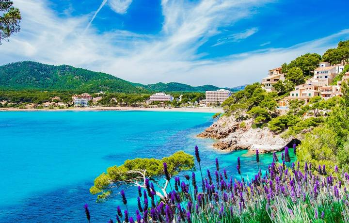 Beautiful view of Canyamel bay, coastline on Majorca island, Spain Mediterranean Sea