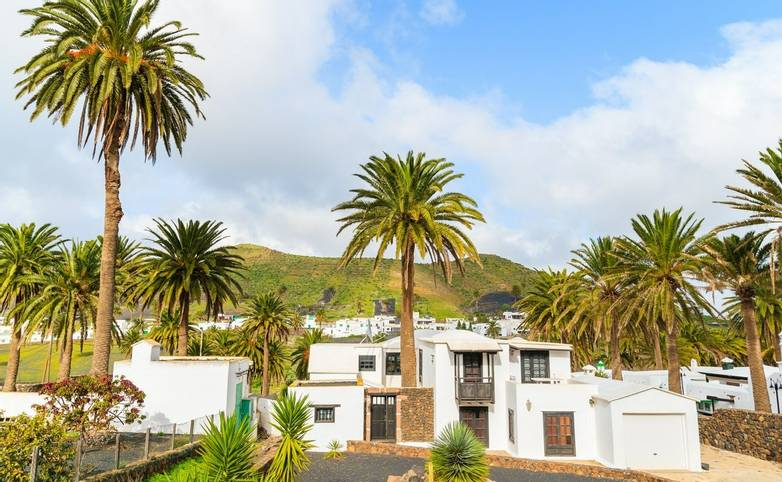 Canary style houses in palm tree landscape of Haria village, Lanzarote island, Spain