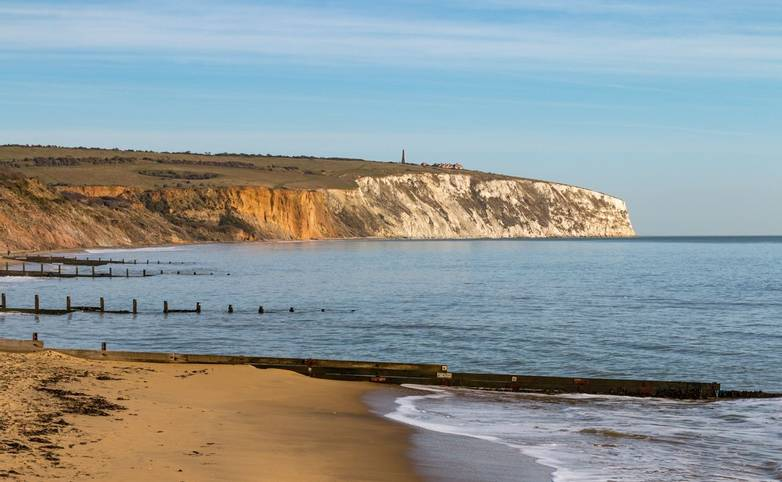 Sandown Bay on the Isle of Wight, looking towards Red Cliff and Culver Cliff