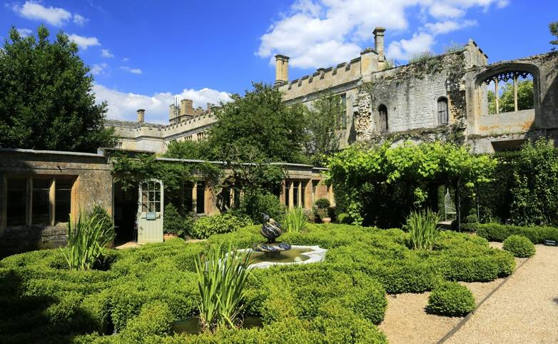 Summer view over Sudeley Castle & Gardens near Winchcombe village, Gloucestershire, Cotswolds, England