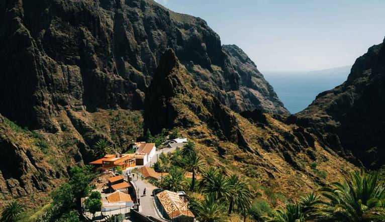 Masca Village on the rock in Tenerife, Canary Islands, Spain. Landmark