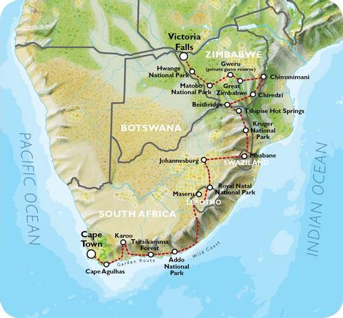CAPE TOWN to VICTORIA FALLS (35 days) Southern Explorer
