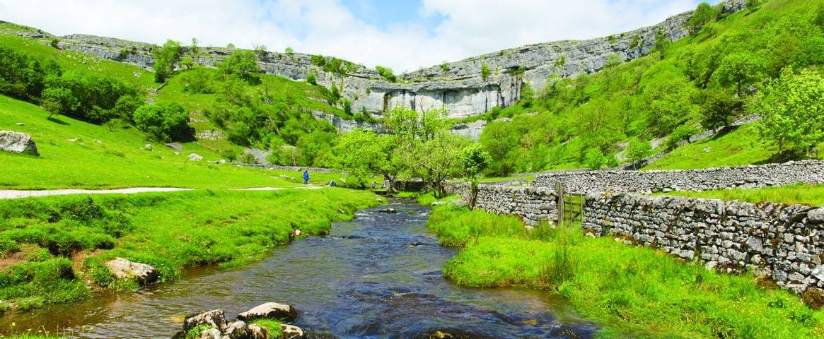Malham Cove in the Southern Yorkshire Dales National Park England UK popular visitor attraction