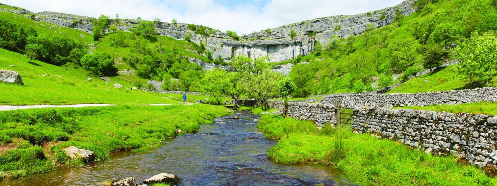 Malham Cove Yorkshire Dales National Park England UK popular visitor attraction