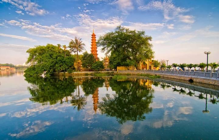 Tran Quoc pagoda in early morning in Hanoi, Vietnam.