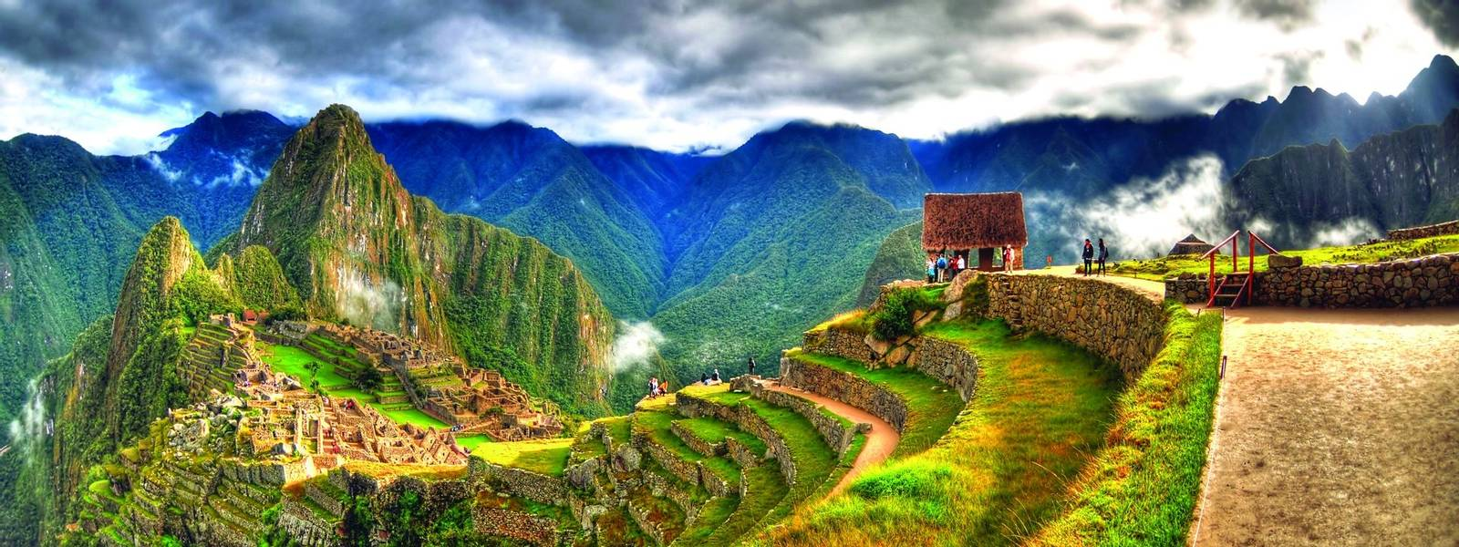Panoramic HDR image of Machu Picchu, the lost city of the Incas on a cloudy day. Machu Picchu is one of the new 7 Wonder of …