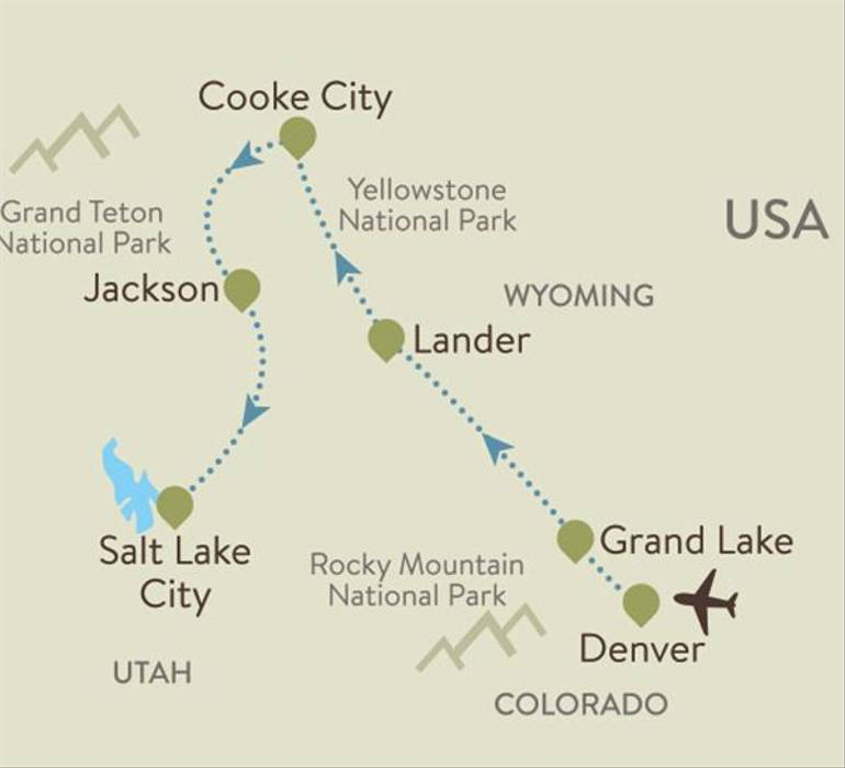 American Rockies Itinerary Map
