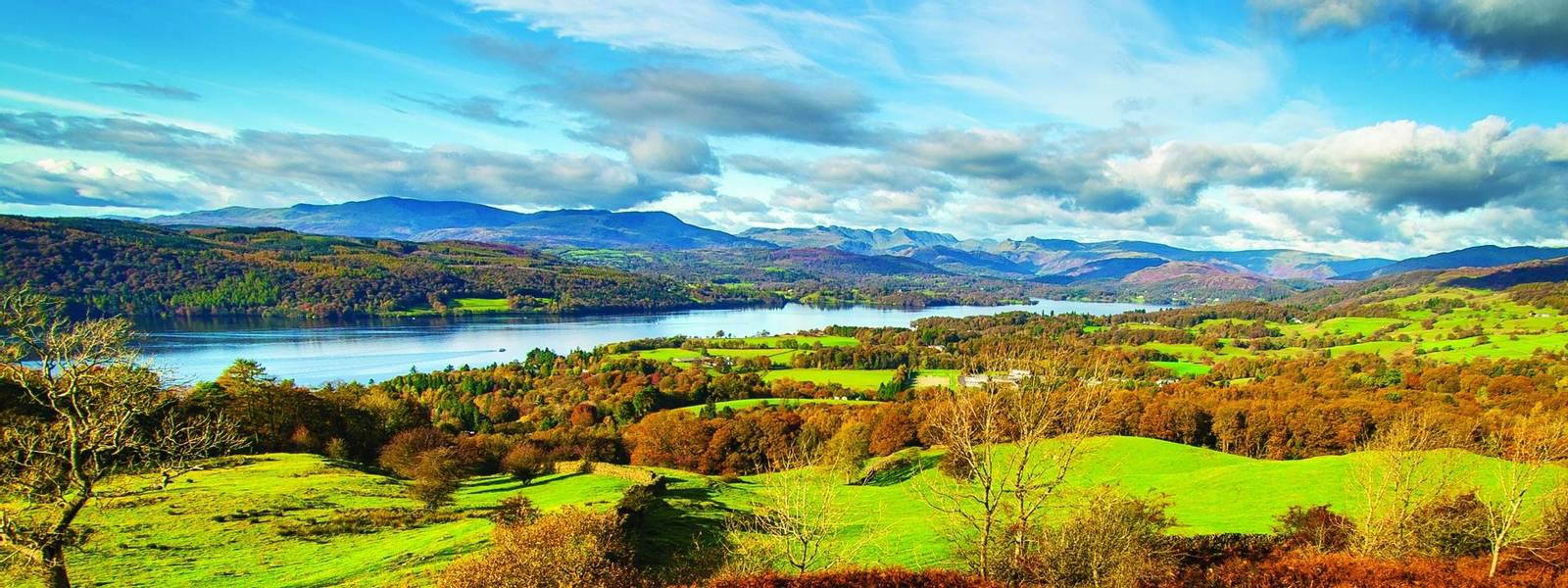 View on Windermere Lake from Orrest Head. English Lake District National Park, Cumbria, UK