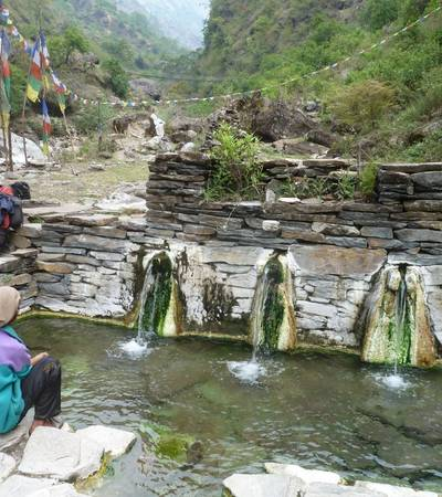 Hot springs at Tatopani below Neber village