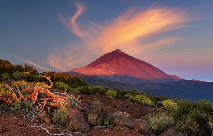 Teide volcano in Tenerife in the light of the rising sun